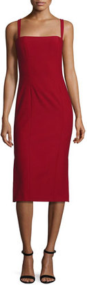 cinq a sept Ela Ponte Sleeveless Midi Sheath Dress, Red $395 thestylecure.com