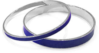 Tuleste Blue & Silver Enamel Channel Bangle (Set of 2)