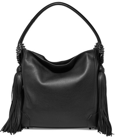 Christian Louboutin Christian Louboutin - Eloise Tasseled Textured-leather Shoulder Bag - Black