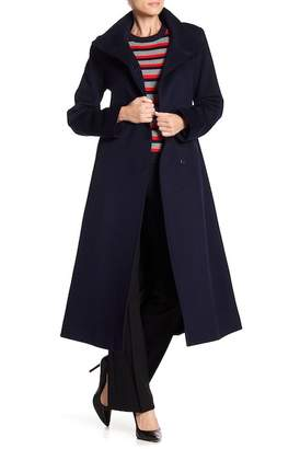 Fleurette Funnel Neck Long Wool Coat