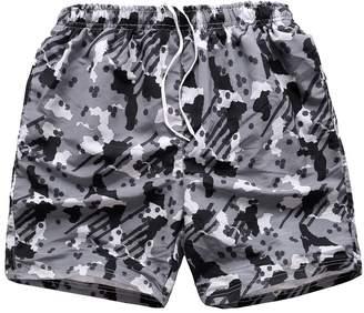6a53ef8dcd5 FAFNIR Men Swim Trunk Shorts Mesh Lining Boardshorts Camo Twill Grey XL