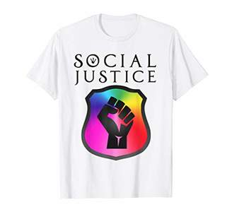 Justice Social Rainbow Shield w/ Fist Human Rights Shirt