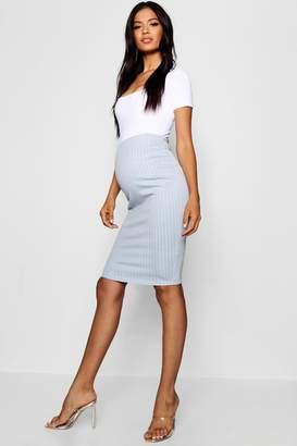 boohoo Maternity Stripe Over The Bump Midi Skirt