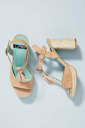 LAB Tasseled T-Strap Heeled Sandals