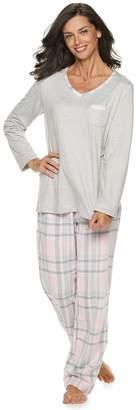 Croft & Barrow Petite Tee & Flannel Pants Pajama Set