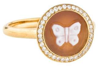 Ippolita 18K Diamond & Butterfly Shell Cameo Cocktail Ring