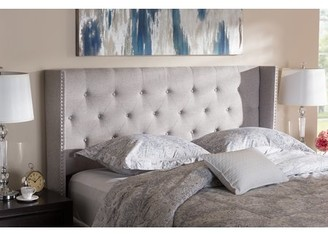 Baxton Studio Ally Modern And Contemporary Grayish Beige Fabric Button-Tufted Nail head King Size Winged Headboard