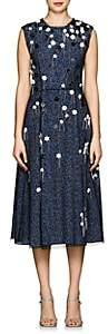Cédric Charlier Women's Embellished Silk Midi-Dress - Blue
