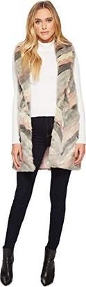 Steve Madden Women's Chevron Color Block Faux Fur Vest