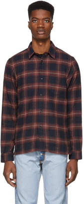 John Elliott Red and Black Check Straight Hem Shirt