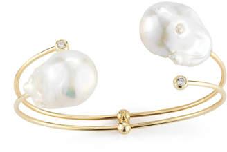 Mizuki Double-Pearl & Diamond Cuff Bracelet