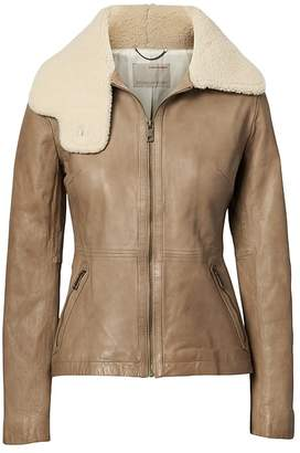 Banana Republic Heritage Shearling Funnel-Neck Leather Jacket