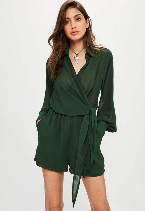 Missguided Wrap Front Shirt Playsuit