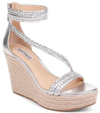 5bcdeb38f51 Badgley Mischka Women s Lita Metallic Leather Wedge Espadrille Sandals