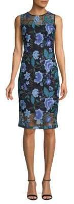 Calvin Klein Sleeveless Floral Embroidered Sheath Dress