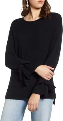 Halogen Tie Sleeve Wool Blend Sweater