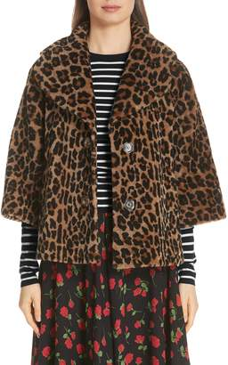 Michael Kors Leopard Print Crop Sleeve Genuine Shearling Coat