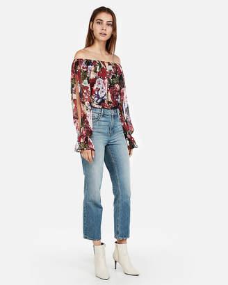 Express Floral Metallic Dot Off The Shoulder Thong Bodysuit