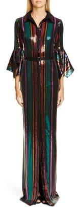 Badgley Mischka Collection Sequin Stripe Gown