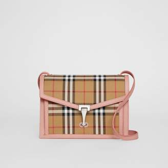 Burberry Small Vintage Check and Leather Crossbody Bag, Purple