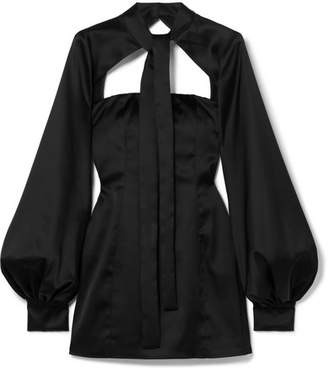ATTICO Cutout Satin Mini Dress - Black