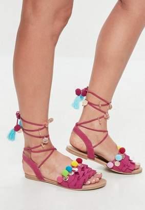 Missguided Pink Pom Pom Frill Flat Sandal