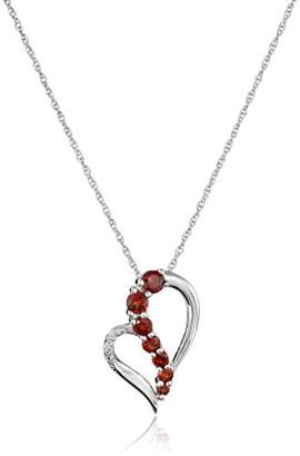 Sterling Garnet and Diamond Accent Heart Journey Pendant Necklace