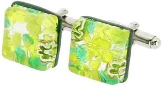 Murano GlassOfVenice Square Glass Cufflinks - Green Silver