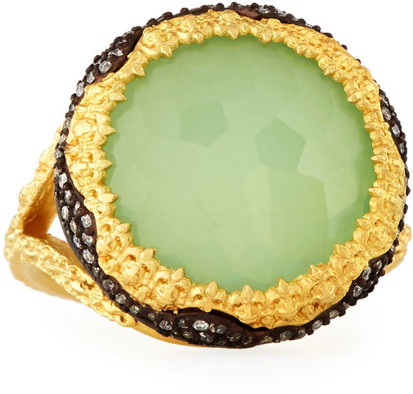 Armenta Armenta Old World Chrysoprase & Quartz Doublet Ring w/ Diamonds, Size 7