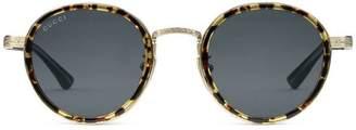 Gucci Round-frame titanium sunglasses