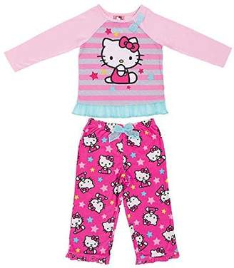 Komar Kids Hello Kitty Little Girls Long Sleeve Top & Fleece Pants Pajama Set
