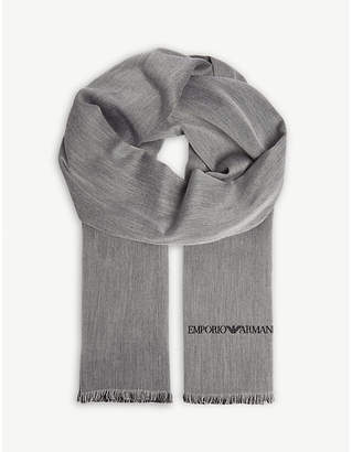 Emporio Armani Solid silk and wool scarf