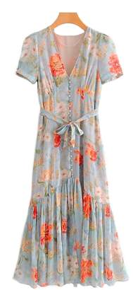 Goodnight Macaroon 'Maddie' Button and Tie Wild Floral Print Maxi Dress