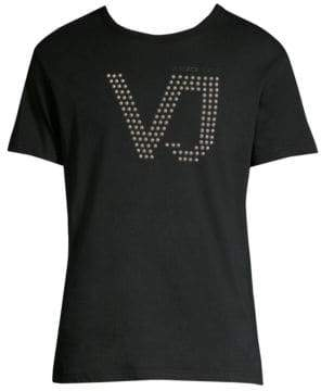 Versace Studded Short Sleeve Cotton T-Shirt