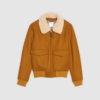Sandro Aviator jacket with sheepskin collar