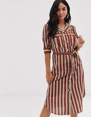 Influence shirt dress with tie waist in stripe