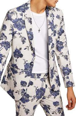Topman Skinny Fit Floral Suit Jacket
