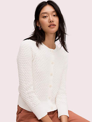 Kate Spade Textured Cardigan, Fresh White - Size XL