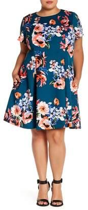 Vince Camuto Floral Print Fit & Flare Dress (Plus Size)