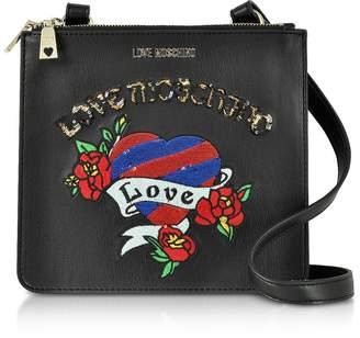 Love Moschino Black Love Embroidered Shoulder Bag