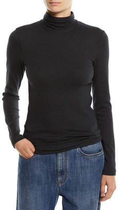 Brunello Cucinelli Jersey Turtleneck Top with Monili Back