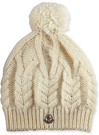 Moncler Moncler Cable-Knit Hat w/Pompom, White