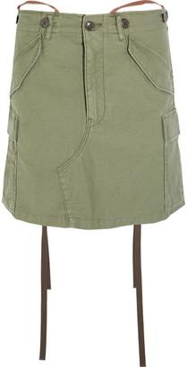 Junya Watanabe - Slub Cotton-blend Mini Skirt - Army green $815 thestylecure.com