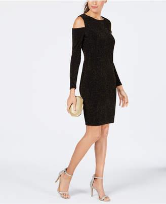 Connected Cold-Shoulder Glitter Jacquard Dress