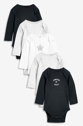 Next Boys Grey/Charcoal 5 Pack Slogan Rib Long Sleeve Bodysuits (0mths-2yrs) - Black