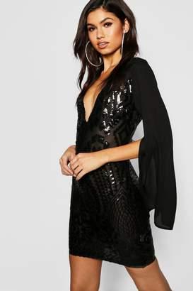 boohoo Sequin Chiffon Sleeve Bodycon Dress