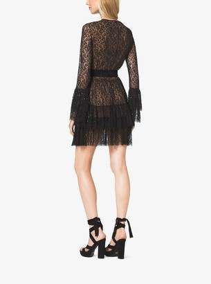 Michael Kors Beaded Chantilly Lace Ruffle Mini Dress