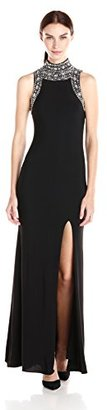 Betsy & Adam Women's High Embellished Neck Gown $229 thestylecure.com