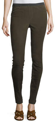 Neiman Marcus Leather Collection Stretch-Suede Leggings