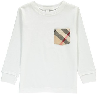 BURBERRY Long Sleeve T-Shirt with Tartan Pocket $100.80 thestylecure.com